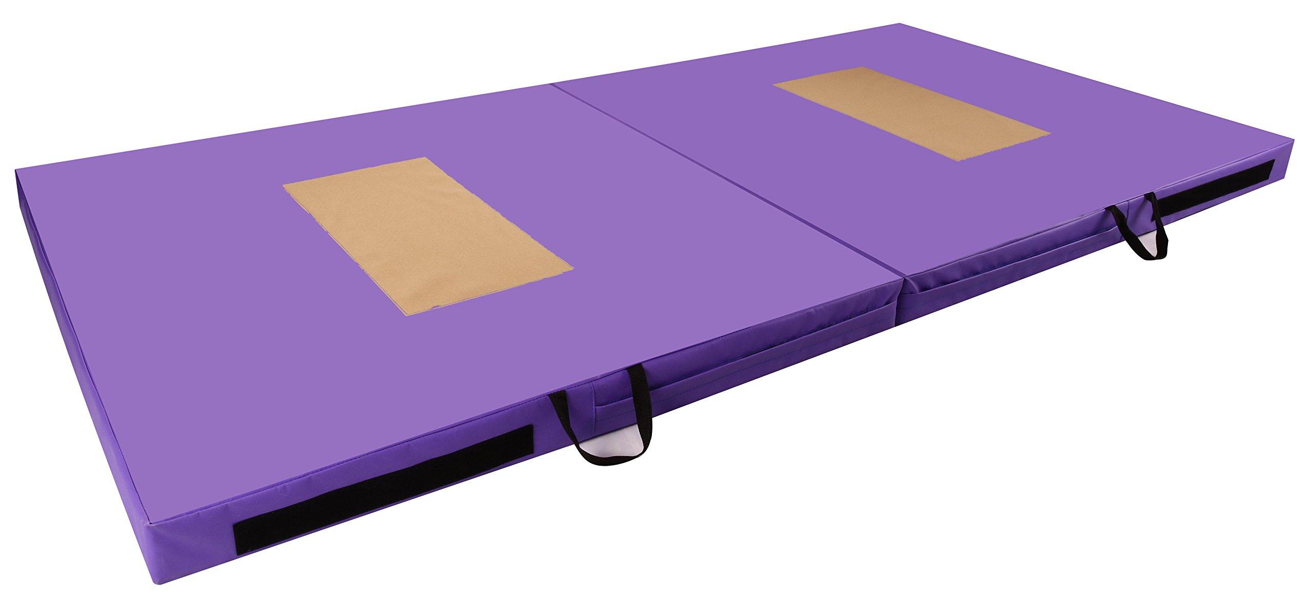 BalanceFrom GoGym All-Purpose 4'x8'x4 Extra Thick High Density Anti-Tear Gymnastics Gym Folding Exercise Aerobics Mats (Purple)