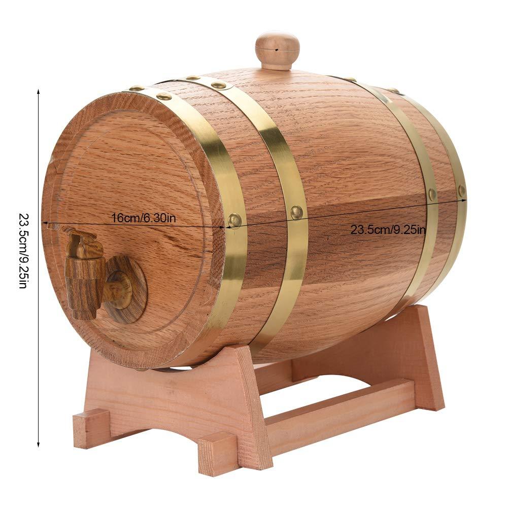 Oak Barrel, Wooden Wine Barrel, Vintage Timber Wine Barrel for Beer Whiskey Rum Bourbon Tequila 3L/5L/10L (3L) by EBTOOLS (Image #4)