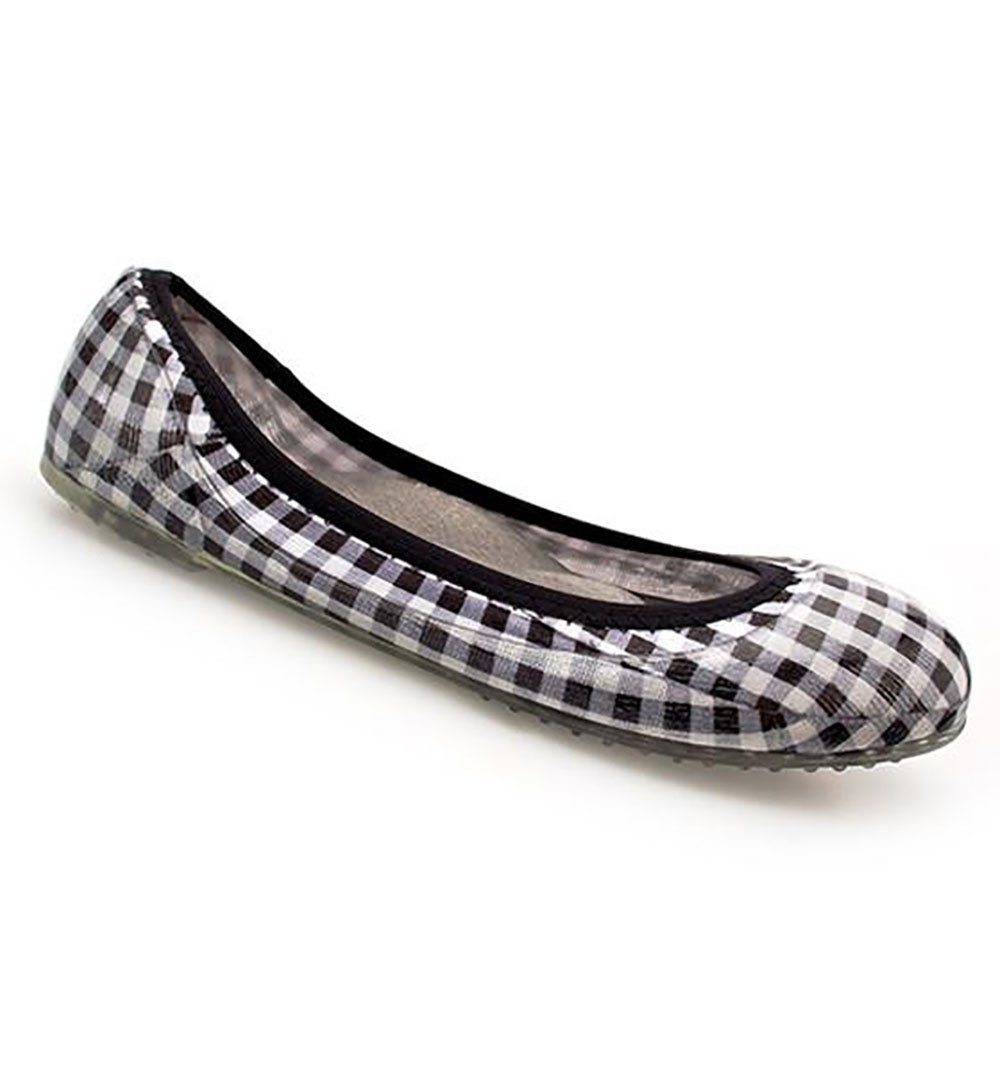 JA VIE Ballet Shoes and Comfortable Ballet Flats Style for Every Day Wear, Gingham/Black SZ 39