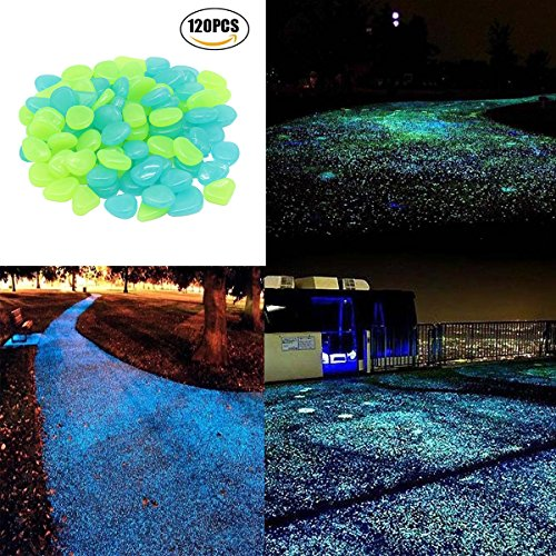 UPC 716045993213, 120 pcs Glow in the Dark Stones, Decorative Stones,Garden Pebbles Rocks for Outdoor, Artificial Decorative Stones Rocks forWalkway, Window, Yard Grass, and Fish Tank Decoration