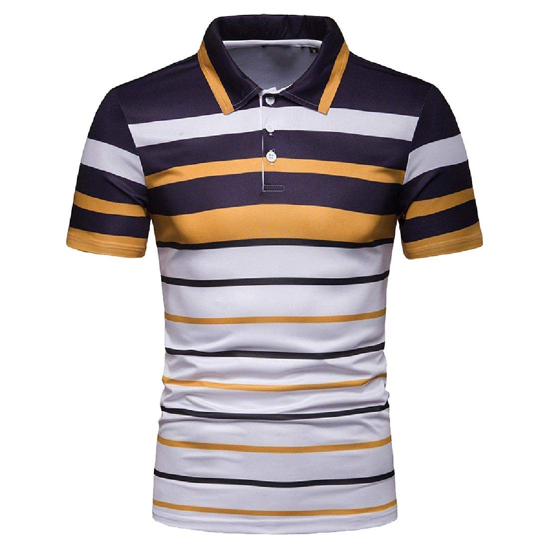 Comaba Mens Short-Sleeve Stripes Slim-Fit Casual Regular Pique Polo Shirt