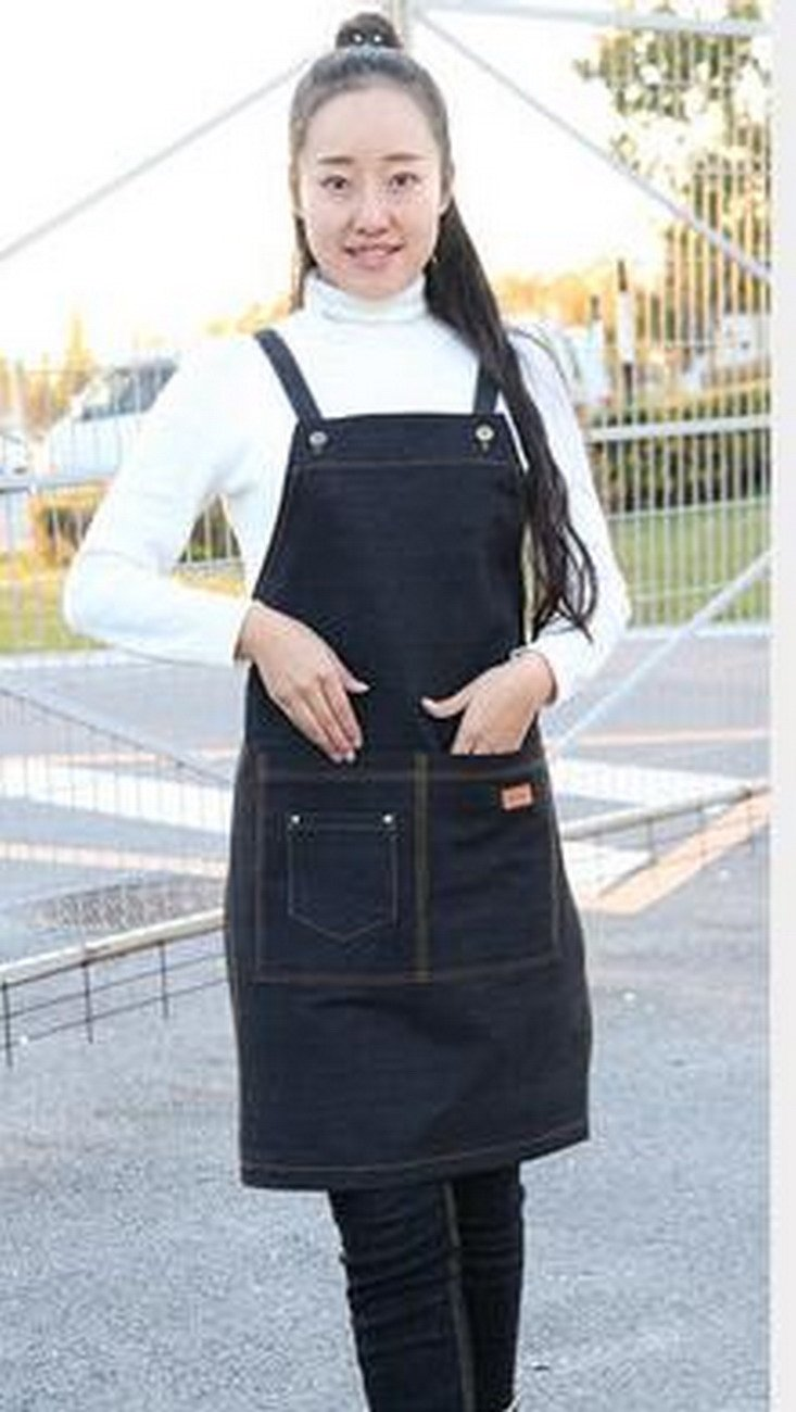 ファッション キッチン デニム エプロン カフェ レストラン ネイルペイント メンズ レディース オーバーオール。 OneSize OneSize Black-10497 B07GBWWGNW