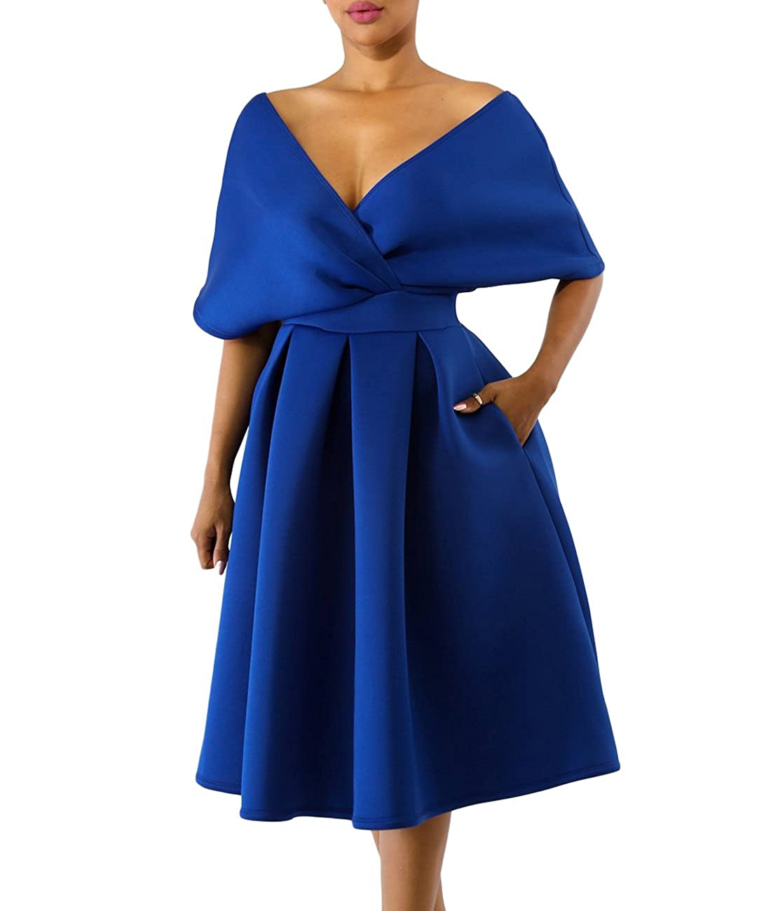 20536257e233 A glamorous vintage dresses for women 1950s perfect for any occasion  featuring classic off shoulder design is never out of fashion, batwing  sleeve pleated ...
