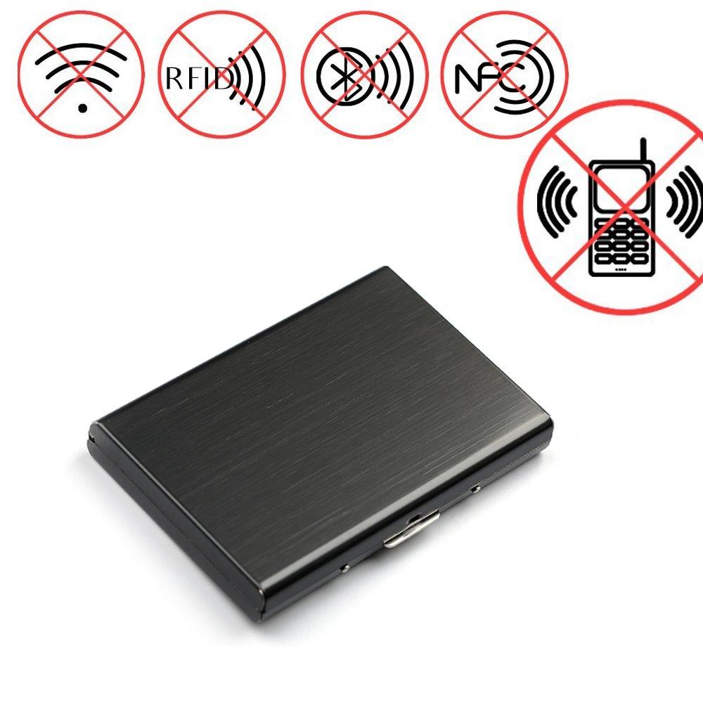 STYLINGCAR Premium Kreditkartenetui aus Aluminium Schutz RFID und NFC Signal Blocker fü r Kreditkarten Personalausweis EC Karte 6 Kartensteckplatz QIANHAI