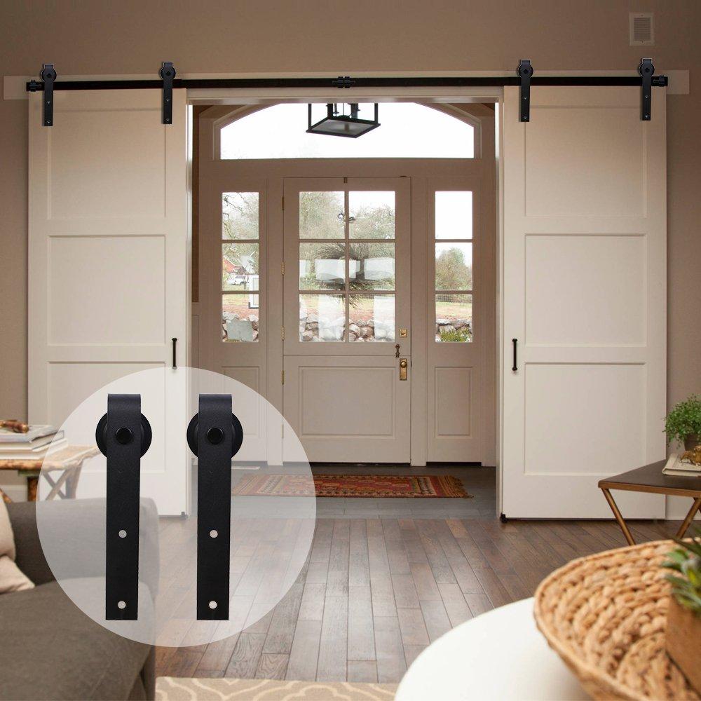 CCJH American Country Flat Style Steel Sliding Barn Door Hardware Interior for Double Door Black (20FT)