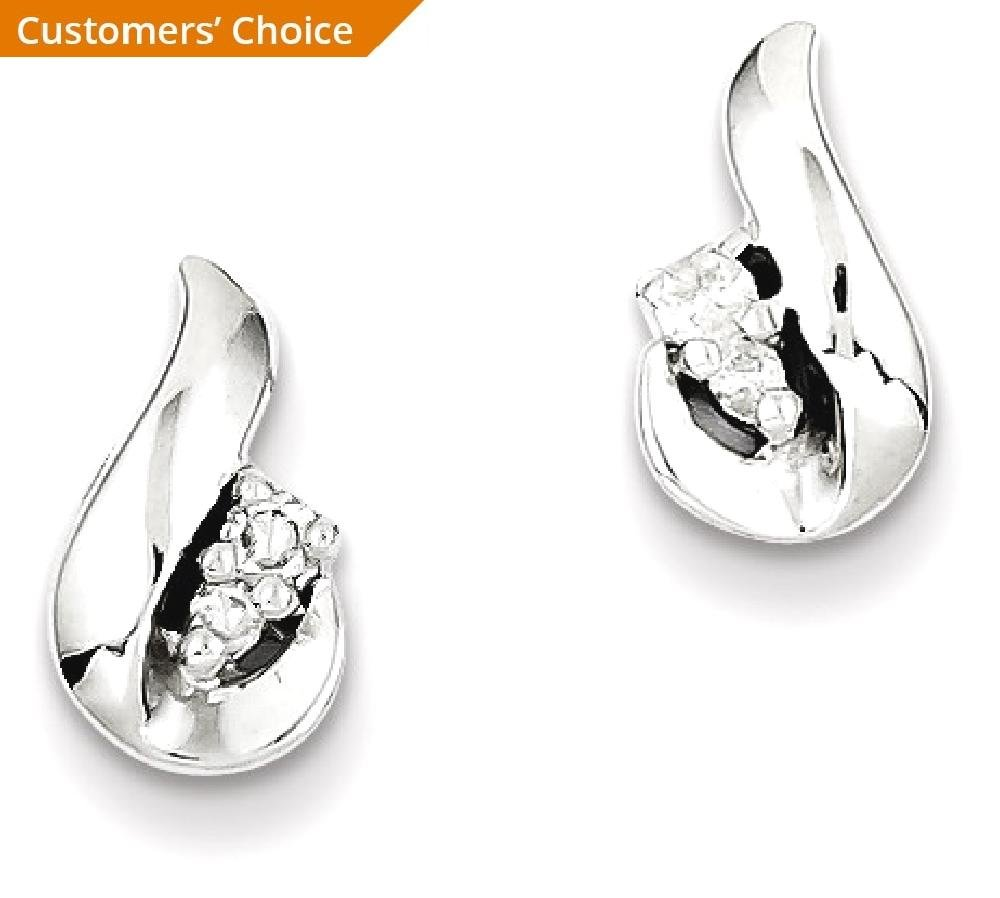 ICE CARATS 925 Sterling Silver Diamond Teardrop Post Stud Ball Button Earrings Fine Jewelry Gift Set For Women Heart by ICE CARATS (Image #2)