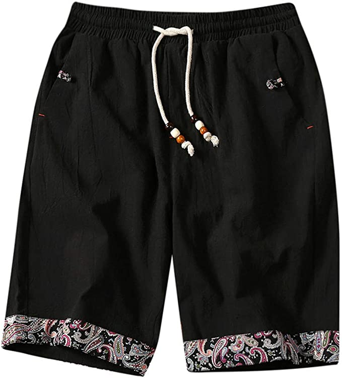 Mens Elastic Waist Drawstring Linen Beach Shorts Summer Casual Classic Fit Short Pants with Pockets