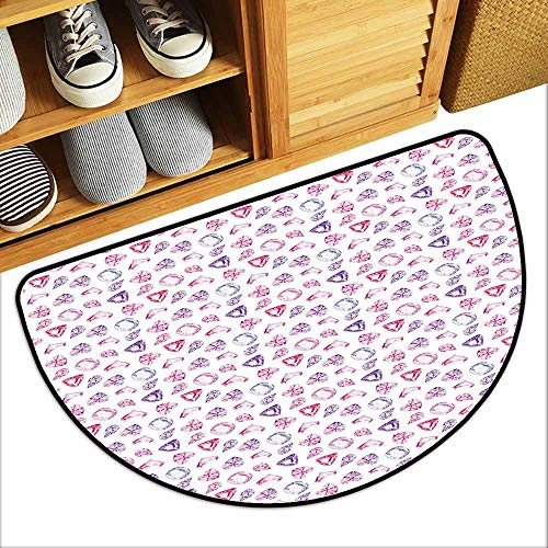 - DILITECK Modern Door mat Diamonds Crystals of Many Colors Pear Oval and Heart Shaped Illustration Watercolor Country Home Decor W31 xL20 Pink Violet Red