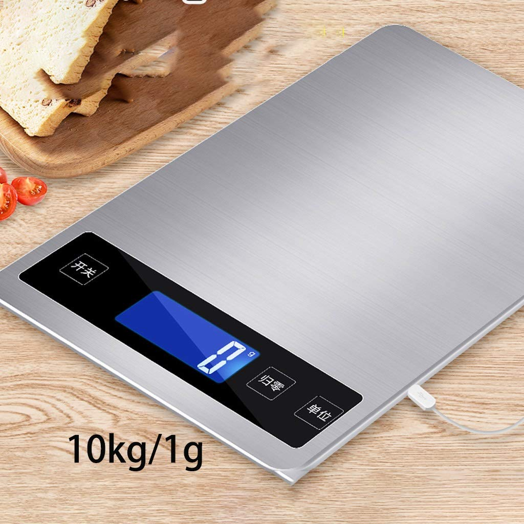 DOZ Waterproof Kitchen Scale Household Small Electronic Weighing 5kg10 Baking Gram high Precision Gram Weight Food Precision Small Scale (Color : Silver) by DOZ