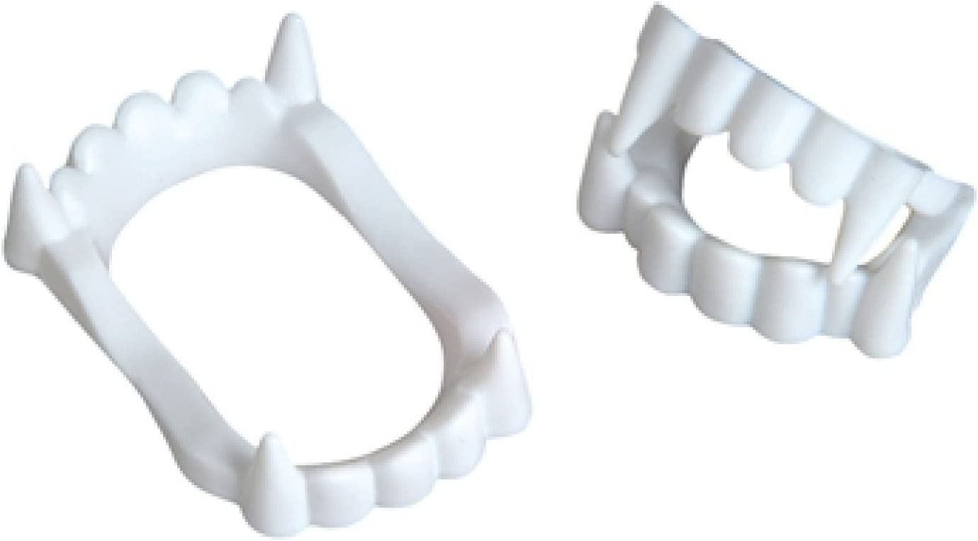 Neliblu 24 White Vampire Fangs, Plastic Teeth, Costume Accessory Halloween Party Favors: Toys & Games