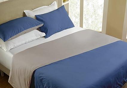 Maspar Colorart 200 TC Reversible Percale Cotton 1 Double Duvet Cover with 2 Pillow Covers - Blue