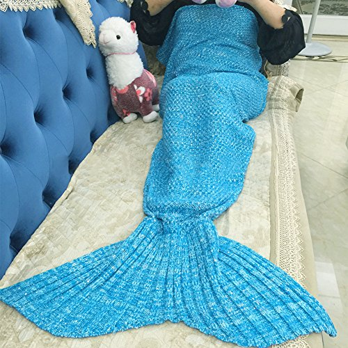 [Handcraft Knitted Mermaid Tail Blanket Sofa Quilt Living Room Blanket Mermaid Blankets for Adults and Kids, 72.8x35.4 inch (Bright] (Super Deluxe Mermaid Costumes)