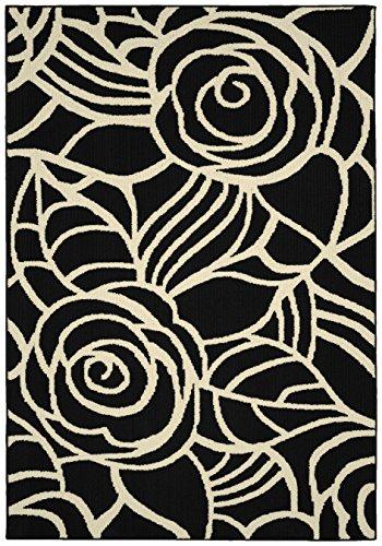 Rug Black Floral - Garland Rug Rhapsody Area Rug, 5 x 7, Black/Ivory
