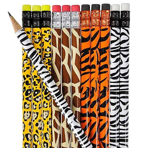Adorable Set of 2 Dozen (24) Children's Wild Animal Print Pencils/Safari Theme Party Favor -