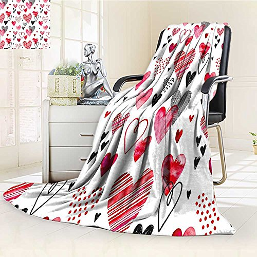 AmaPark Manta Valentina, Tipo de Corazones, Diseño de Rayas, Color Rojo, Rosa, Negro, Cálido, Microfibra, para Cama o...