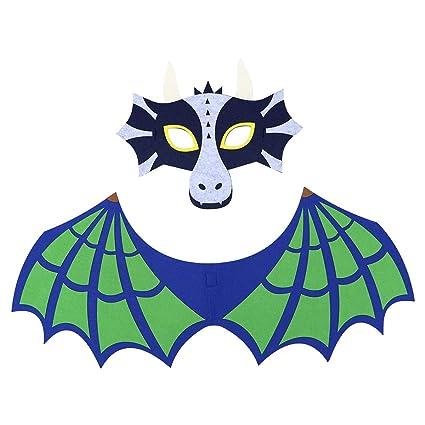 BESTOYARD - Juego de alas de máscara de Dinosaurio para Halloween, Color Verde