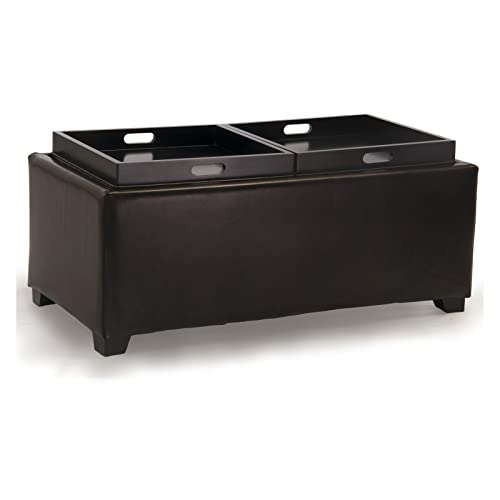 Best Selling Maxwell Leather Tray Ottoman, Brown