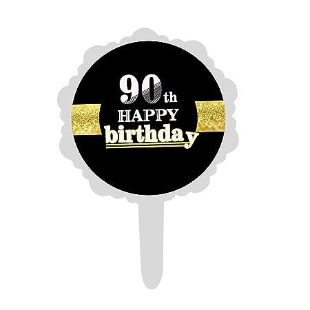 6 Piezas de Oro Negro 16/18/30/40/50/60 Adulto Cumpleaños a ...