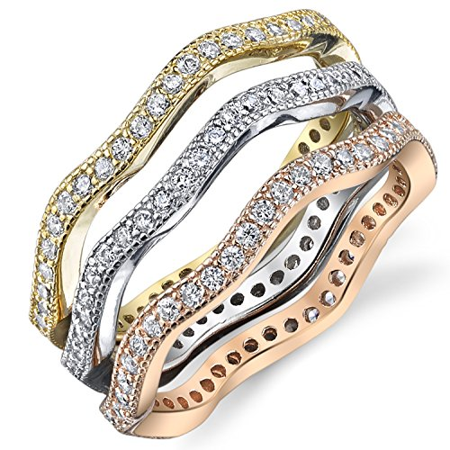 Sterling Silver Tri-Color Stackable Set of 3 Eternity Rings Bands with Cubic Zirconia Size 9 by Metal Masters Co.