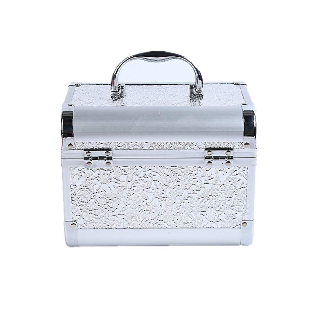 化粧オーガナイザーバッグ コード化されたロックと化粧鏡で小さなものの種類の旅行のための美容メイクアップのための白い化粧ケース 化粧品ケース B07Q56XDYN