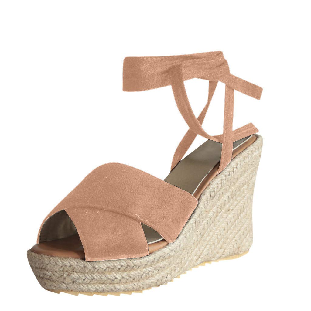 Nadition Summer Wedges Sandals❤️️ Womens Fashion Open Toe Thick Bottom Sandals Lace-Up Beach Shoes Roman Sandals Beige