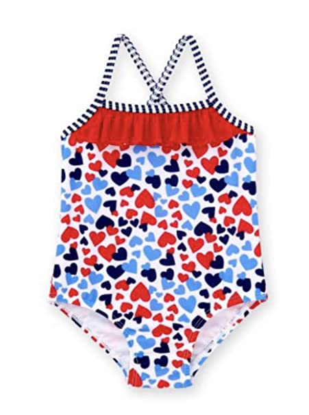 da3a5f6fd35 Amazon.com: Healthtex Baby Girl Heart Print One Piece Swimsuit, Size 18  Months(Red/Blue/White): Clothing