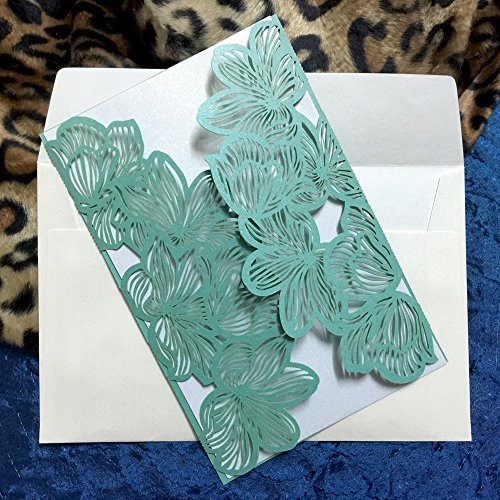 - WOMHOPE® 50 Pcs - Flower Petals Hollow Laser Cut Lace Shimmer Wedding Invitation Party Invitations Cards Birthday Invitations Cards Wedding Favors (Green)
