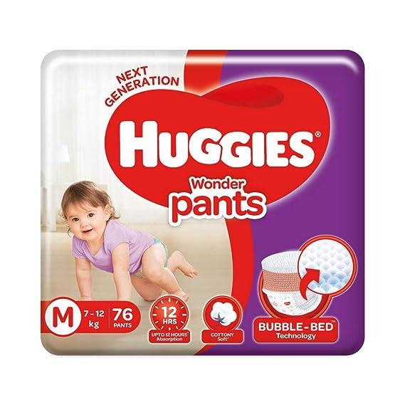 Huggies Wonder Pants Diapers, Medium (Pack of 76)