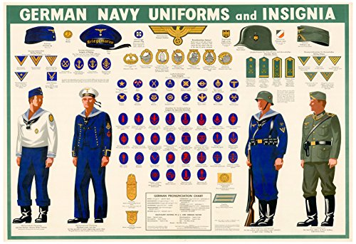 [German Navy Uniforms and Insignia Chart WWII War Propaganda Art Print Poster 19 x 13in with Poster] (Ww2 Navy Uniforms)
