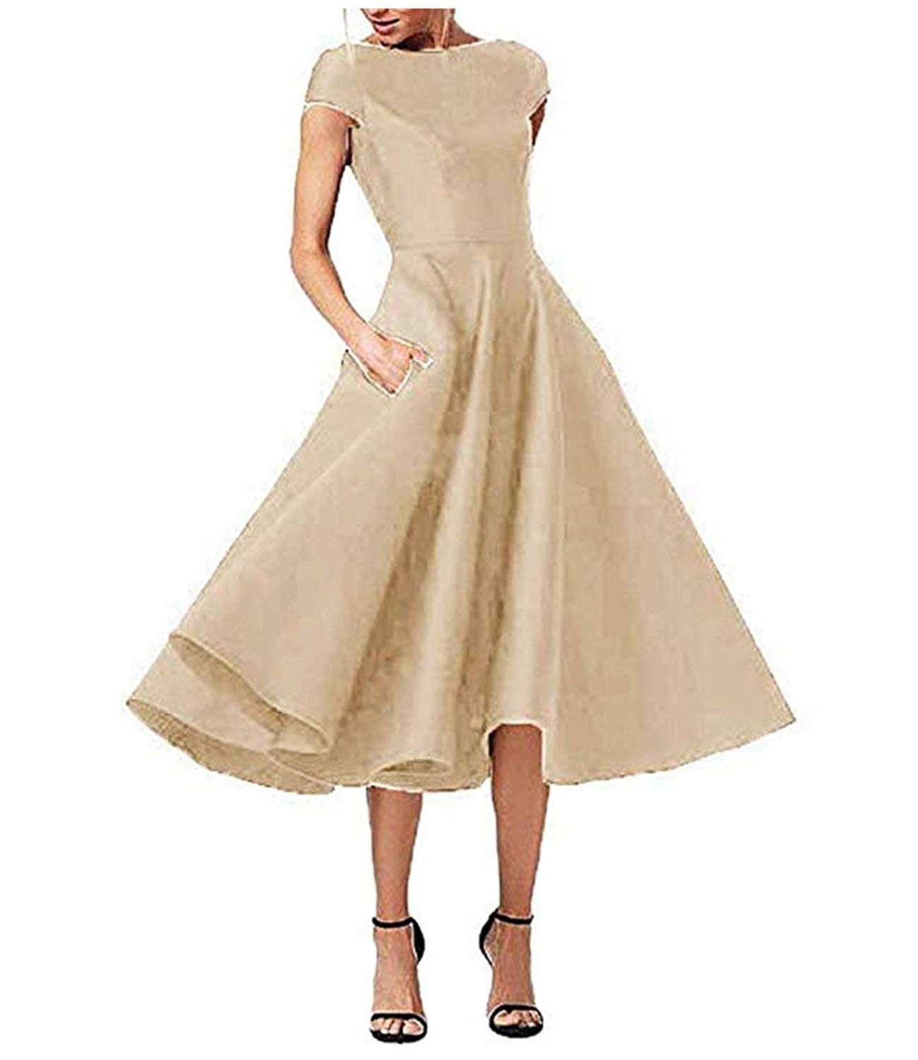 Champagne ZLQQ Women's Tea Length Mother of The Bride Dresses Short Sleeve Formal Prom Gown Pocket