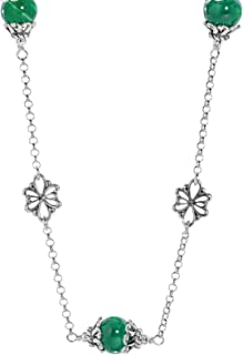 product image for Carolyn Pollack Sterling Silver Gemstone Floral Stations Beaded Necklace 17 Inch - Choice of Gemstones