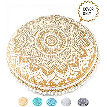 Meditation Pillow Premium Insert Included Hand Printed Cotton Pouf Round 16x8 inches Mandala Life ART Bohemian Yoga Decor Floor Cushion