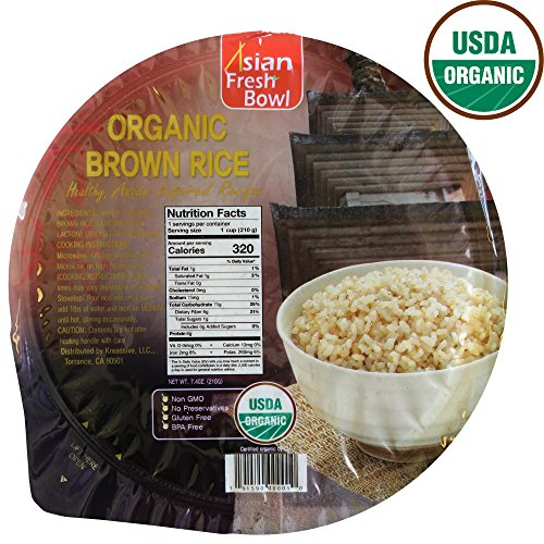 Microwaveable Organic Steamed Brown Instant Rice, Asian Fresh Bowl, 7.2oz, Non GMO No Preservatives No Gluten No BPA - 6 Pack