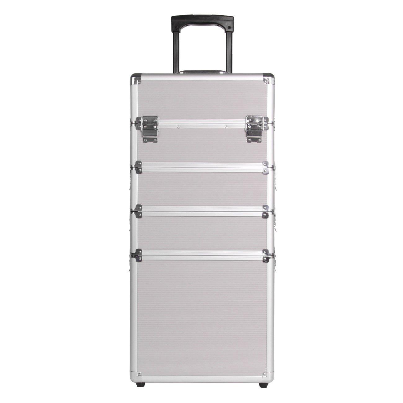 Paneltech 4 en 1 grand maquillage Beauty Rolling Case Organiseur Cosmétiques Coiffeuse Box de rangement verrouillable Professional Professional Travel Trolley (argent)
