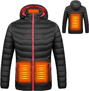 KSRTNX Hombre Chaquetas de algodón Gruesas de Invierno con calefacción de Invierno Cazadoras Impermeables al Aire Libre Senderismo Camping Trekking Escalada en Roca Abrigos de Invierno para