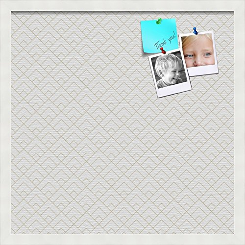 - PinPix pin Cork Bulletin Board Made from Canvas, Peaks Modern Pattern White Beige 20x20 Inches (Completed Size) and Framed in Satin White Frame (PinPix-Group-86)