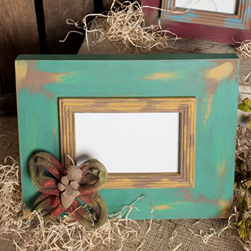 Springtime Accent - 4x6 Picture Frame with Springtime Accent (Turquoise/Yellow)