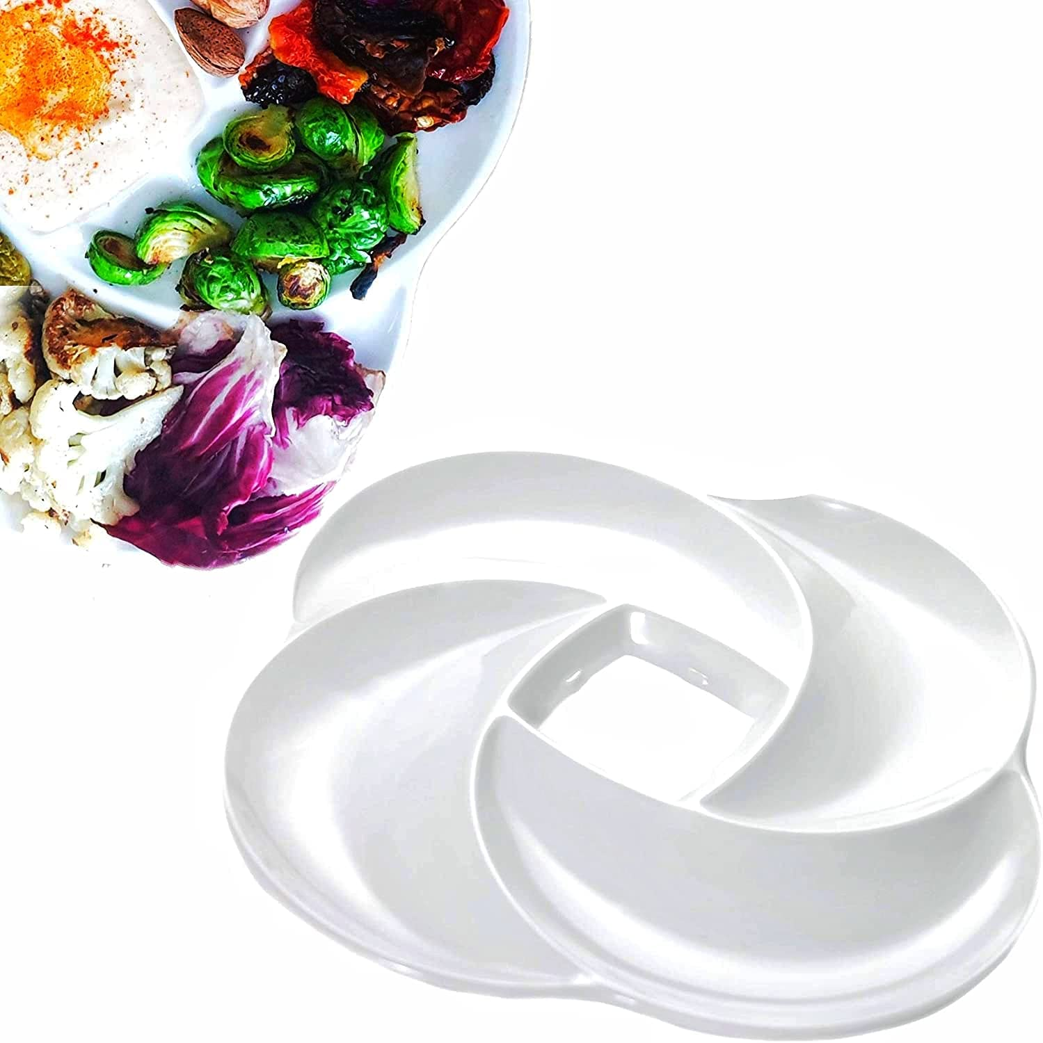 Ecology Reusable Non Disposable White Veggie Tray for Partys. 100% A Grade Melamine Quality Not Plastic. Appetizer Sectioned Platter. Ideal for Vegetables and Fruits. Serving Dish for entertaining.