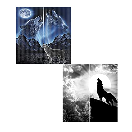 5b00870bb49dd Amazon.com  Fityle 2 Set Wolf ~ Animal Decor 3D Print Blackout ...