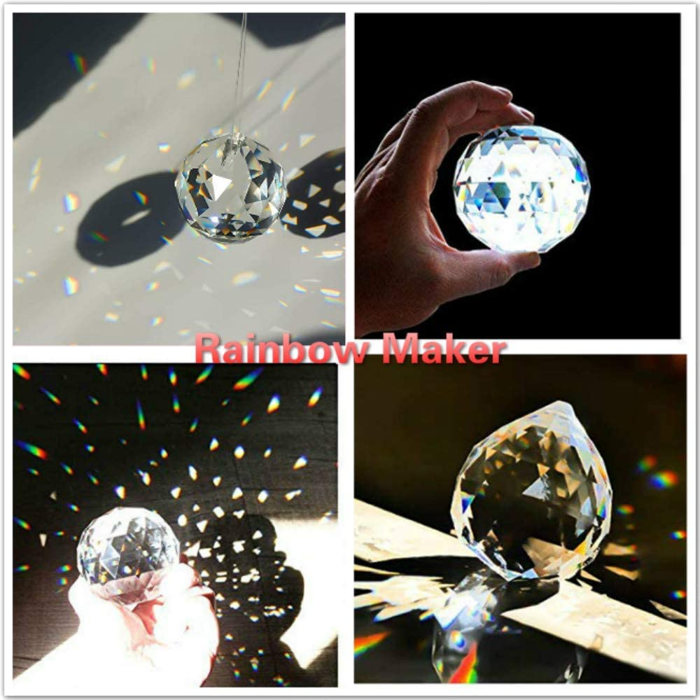Prism Ball Pendant 2//50mm 2 Pack Toowood K9 Crystal Ball Drop Prisms Optical Glass Triangular Prism Pyramid for Photography Decoration Birthday Gift Teaching