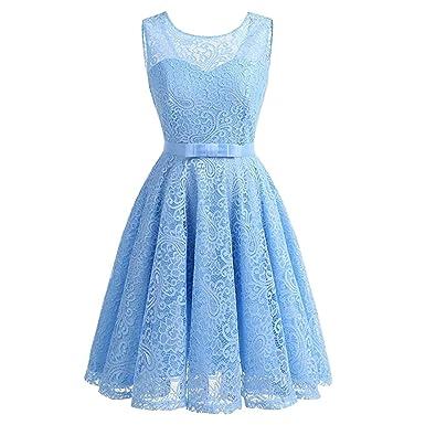 ad151c0c73 Elfremore Lace Dress Vintage Cocktail Sleeveless Bridesmaid Dress Swing  Dresses With Belt