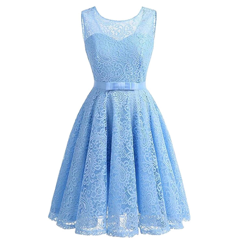 iShine Rockabilly Kleid Damen Ärmellos Brautjungfernkleid mit ...