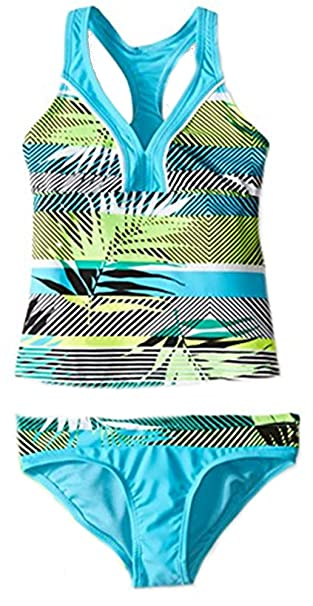 cde59b2afb0b8 Amazon.com: ZeroXposur Girls' Tiki Topsy Halterkini 2 Piece Swimsuit ...