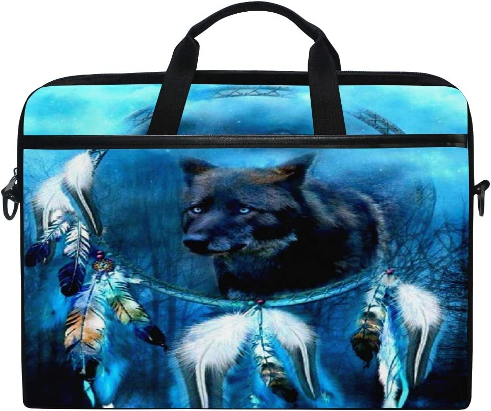 ALAZA Fantasy Dreamcatcher Wolf 15 inch Laptop Case Shoulder Bag Crossbody Briefcase Messenger Sleeve for Women Men Girls Boys with Shoulder Strap Handle, for Her Him