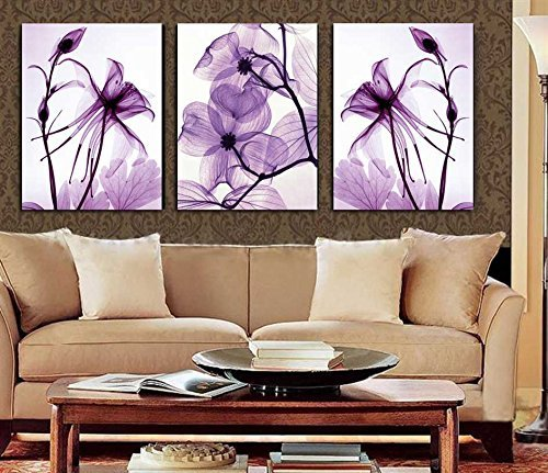Spirit Canvas Art - Spirit Up Art Hot Sell Transparent Purple Flowers HD Print on Canvas Abstract Art Modern Home Decoration Wall Painting Set of 3 Each 40*60cm #11-synj-11 (framed)