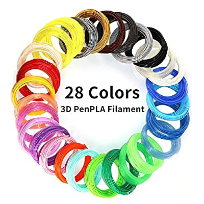 28Colors PLA 3D Printing Pen Filament Refill, Each Color 10 Feet, Total 280 Feet, Extra Gift with 2 Finger Caps by MKOEM