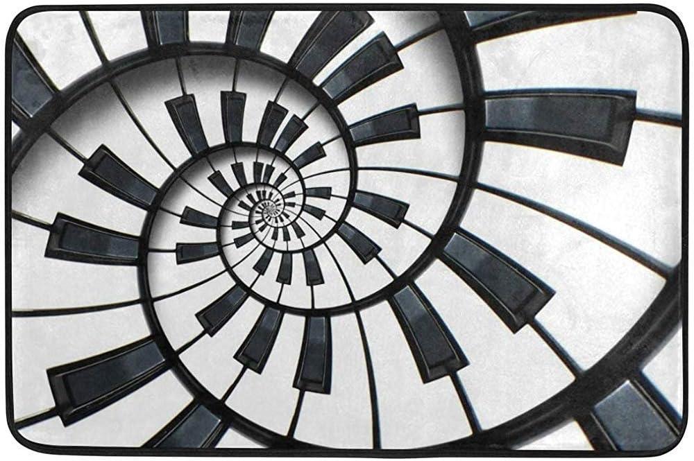 Eileen Powell Teclado de Piano Abstracto Área de Escalera de Caracol Alfombra Tapete de Entrada Entrada Alfombrilla Alfombrilla Antideslizante 60 * 39 Pulgadas: Amazon.es: Hogar