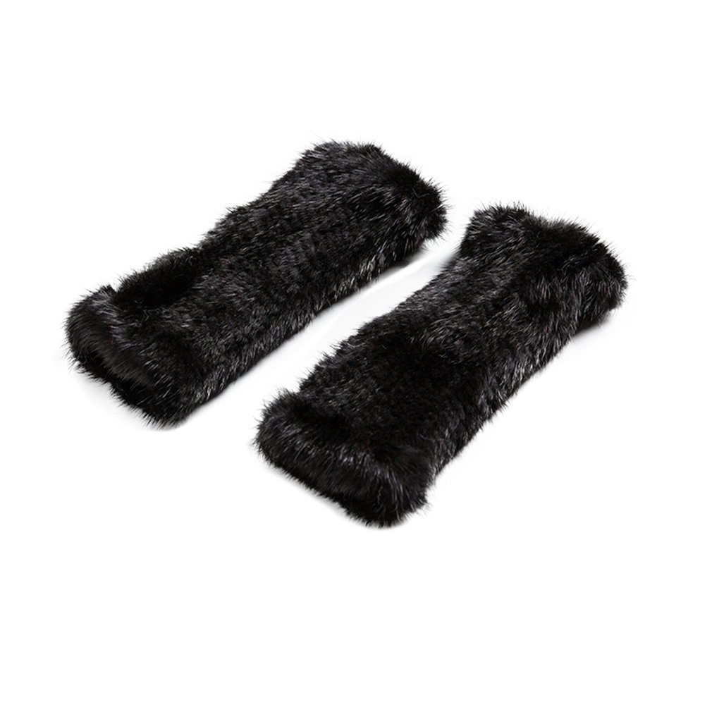 Women's Knitted Real Mink Fur Fingerless Gloves Fashion Winter Warm Gloves (Black) - Fur Story