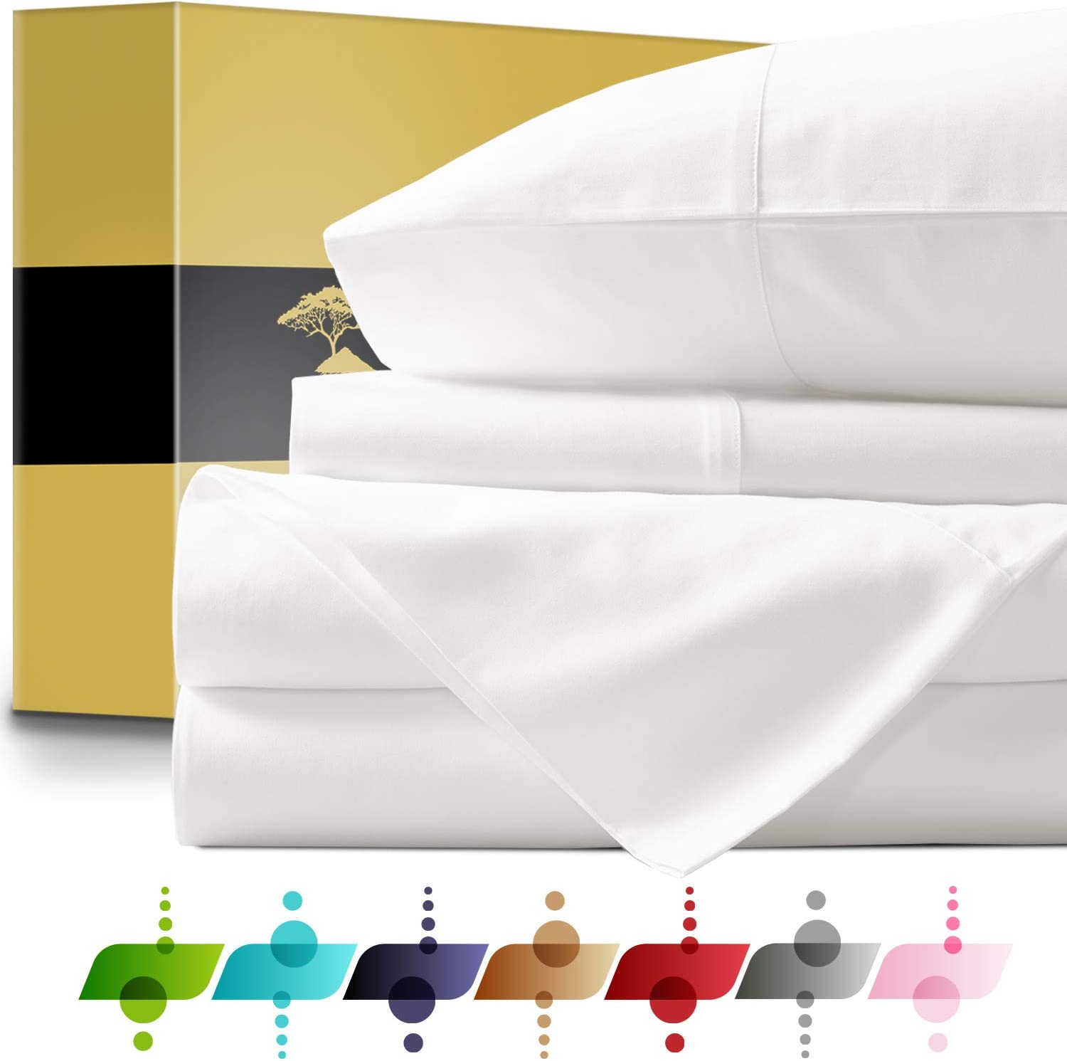 """Soft Fitted Sheet 1000 Thread Count 100/% Cotton 14/"""" Deep Pocket"""