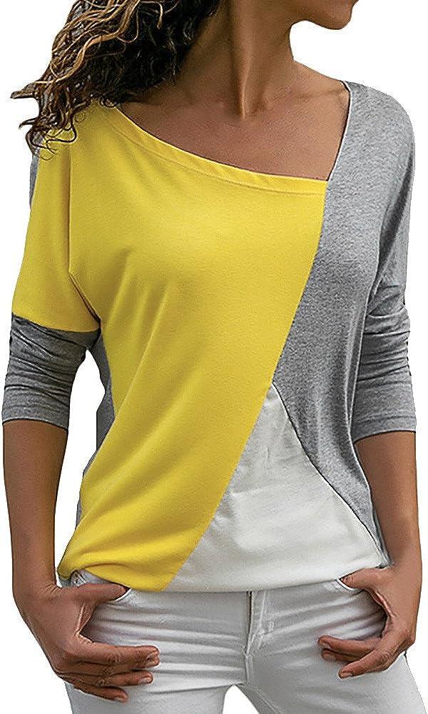 Blusa Moda Patchwork Casual para Mujer Sudadera con Capucha Tallas Grandes Color Block Tallas Grandes O-Neck Manga Larga Camiseta Tops Invierno Abrigos Liquidación de Venta SHOBDW